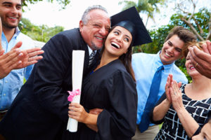 Young Australian woman with family around her at graduation day. Showing what to wear to graduation in Australia